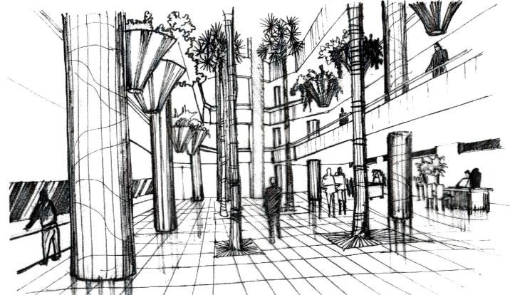 Croquis Arquitectura Interior Central | Croquis Interior
